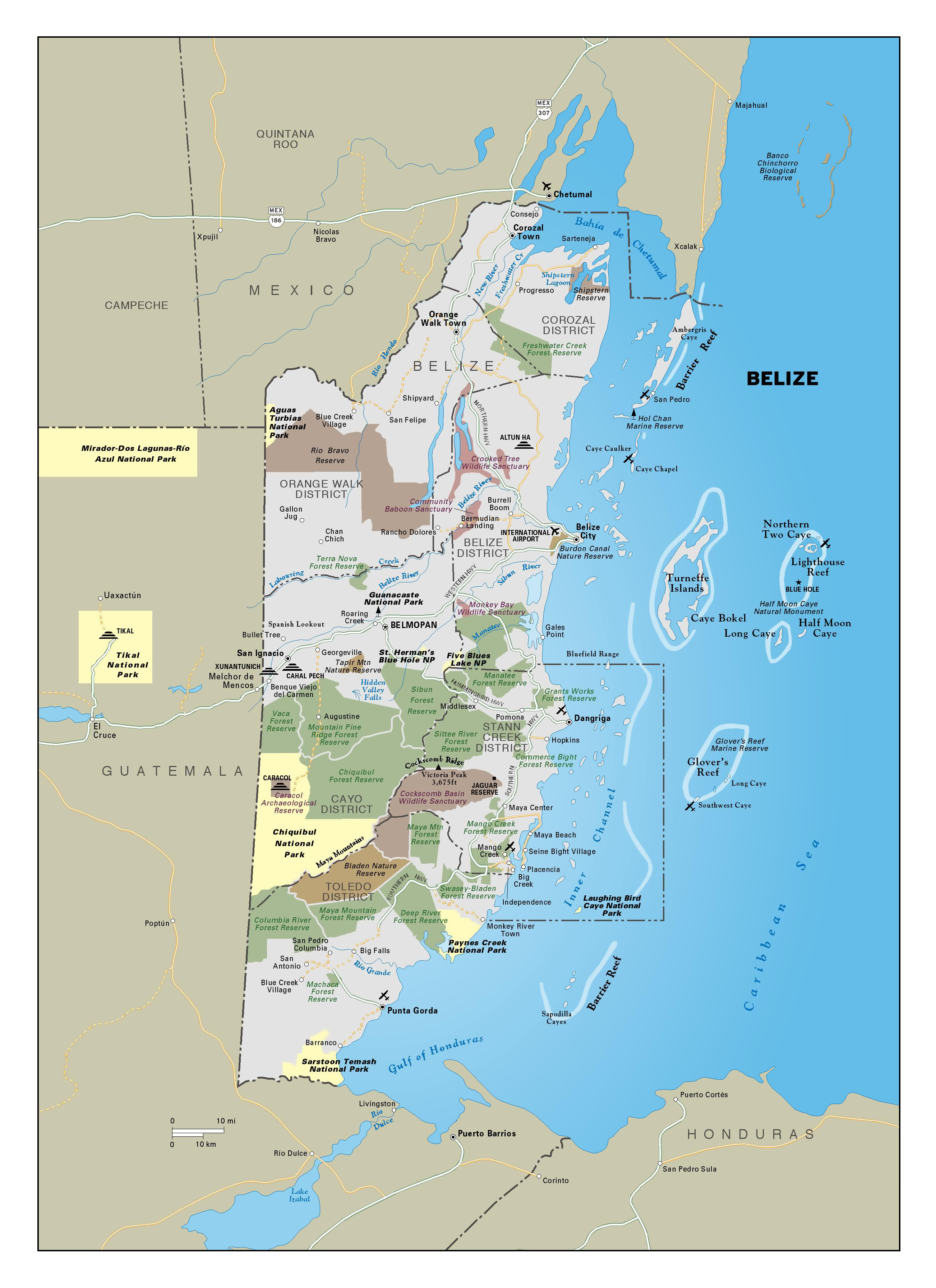 Large Detailed Map Of Belize With Major Roads Cities Forest - Map of belize