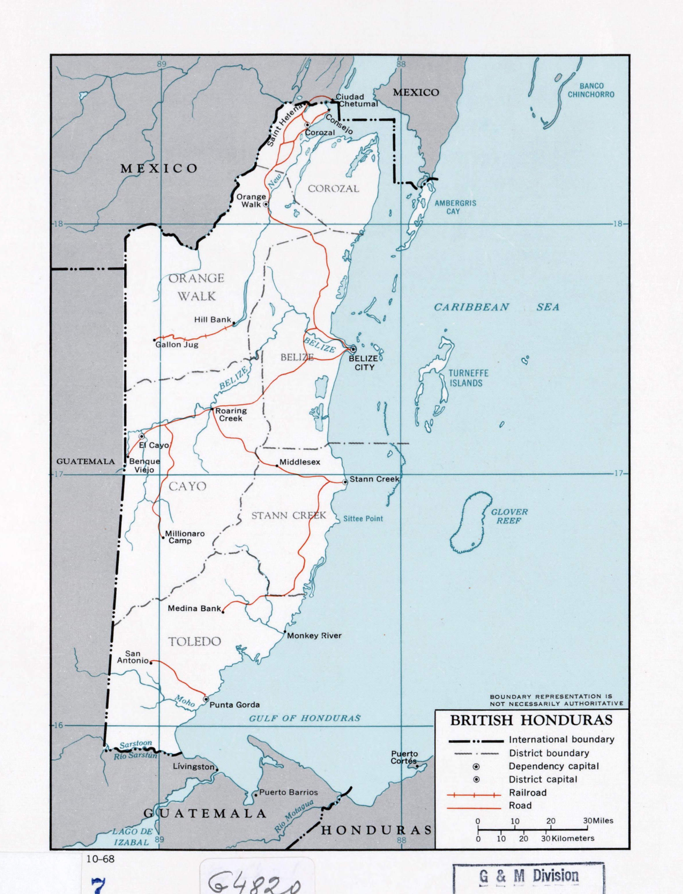 Large detailed political and administrative map of British Honduras ...