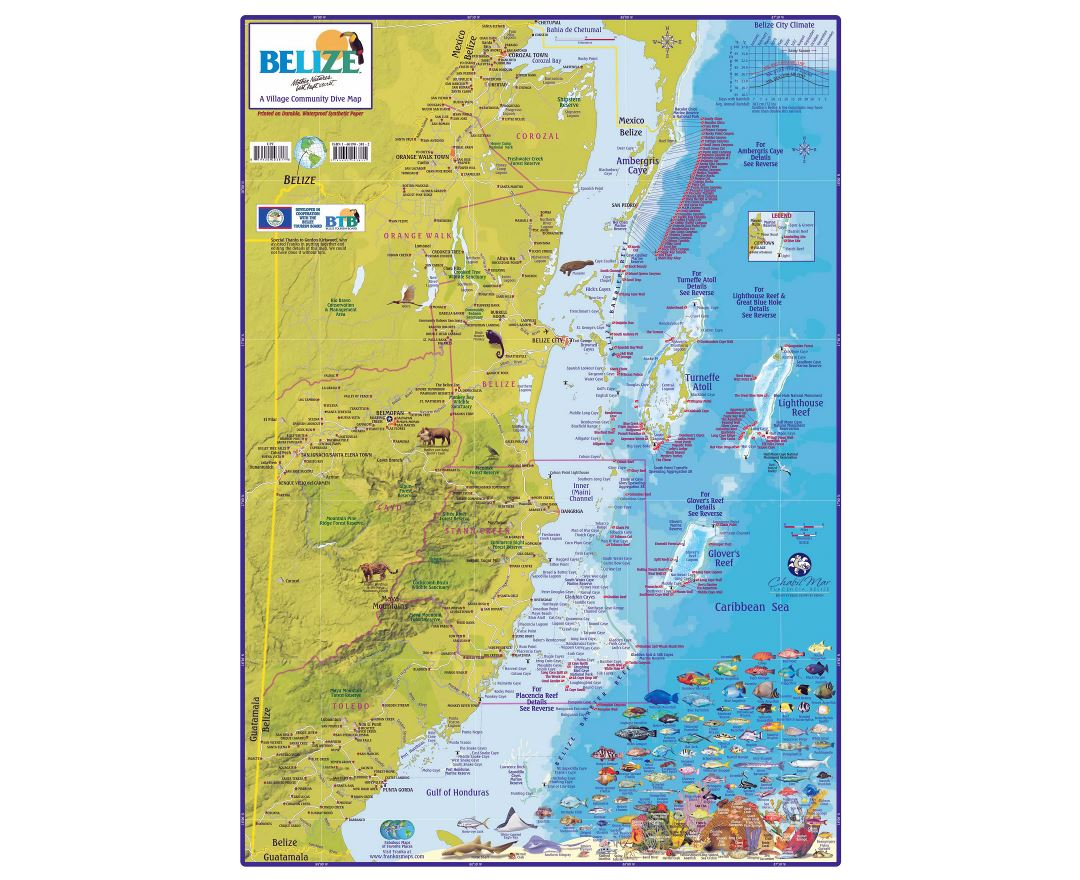 Large detailed tourist map of Belize