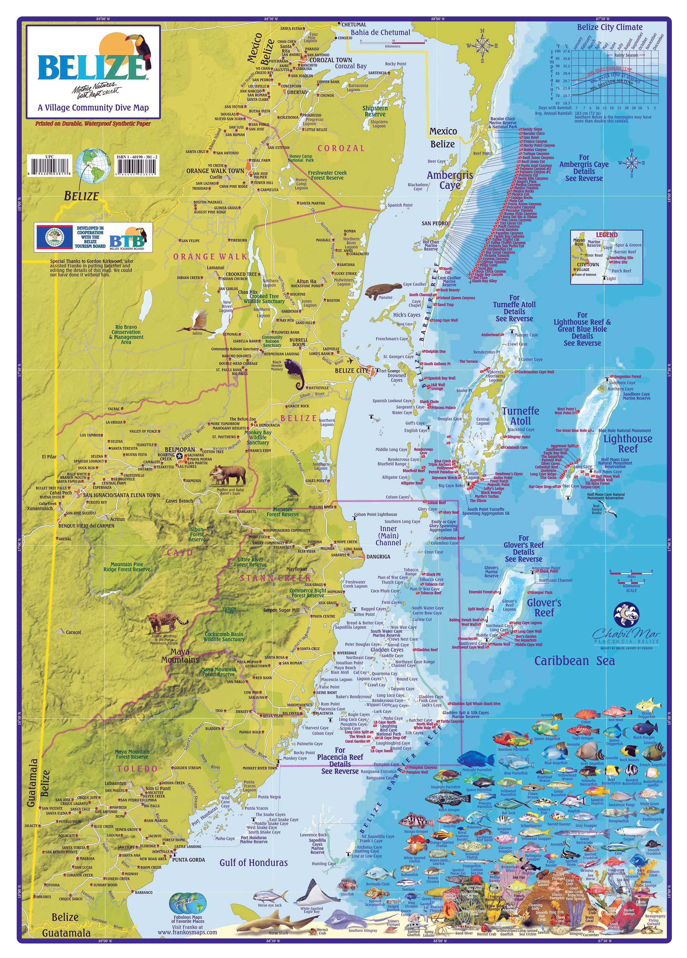 Large detailed tourist map of Belize Belize North America