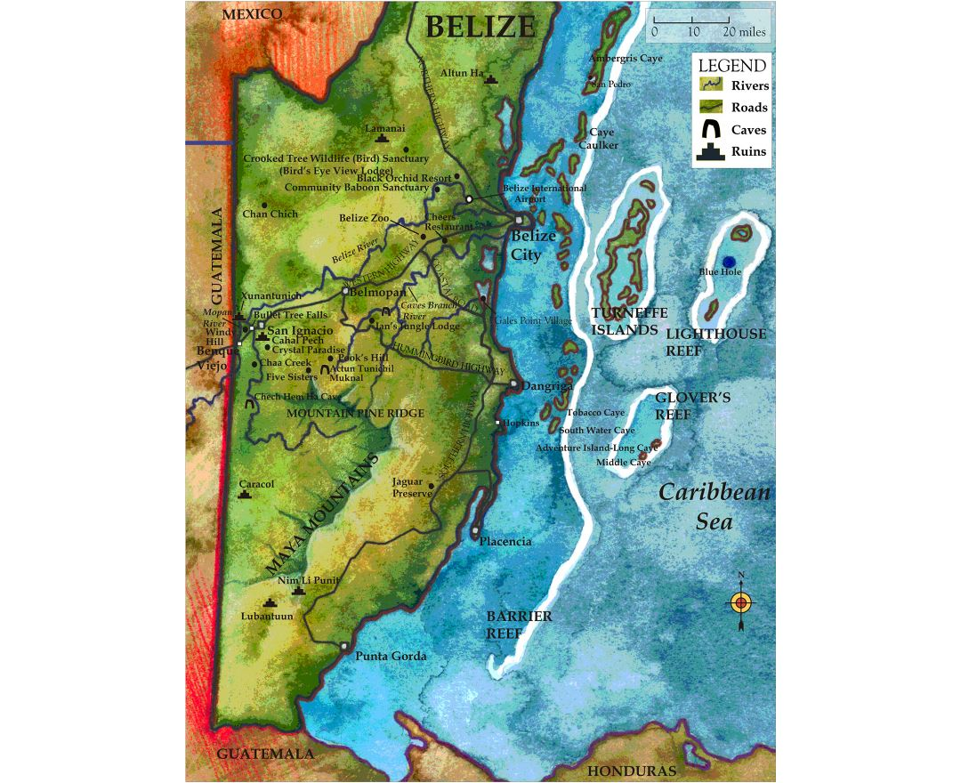 Large detailed travel map of Belize