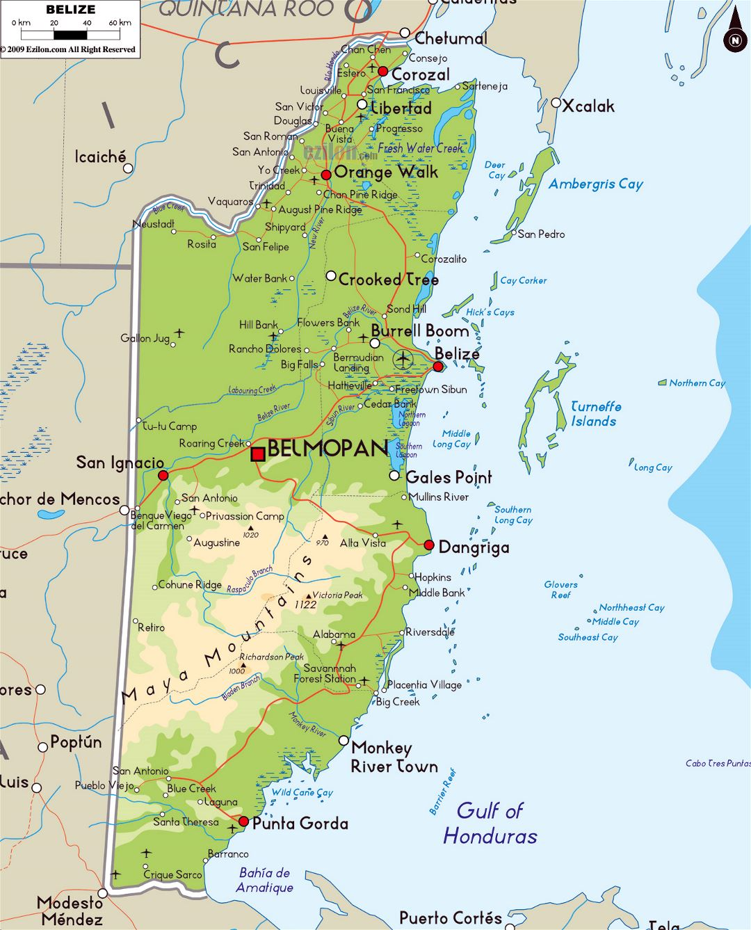 Large physical map of Belize with roads, cities and airports