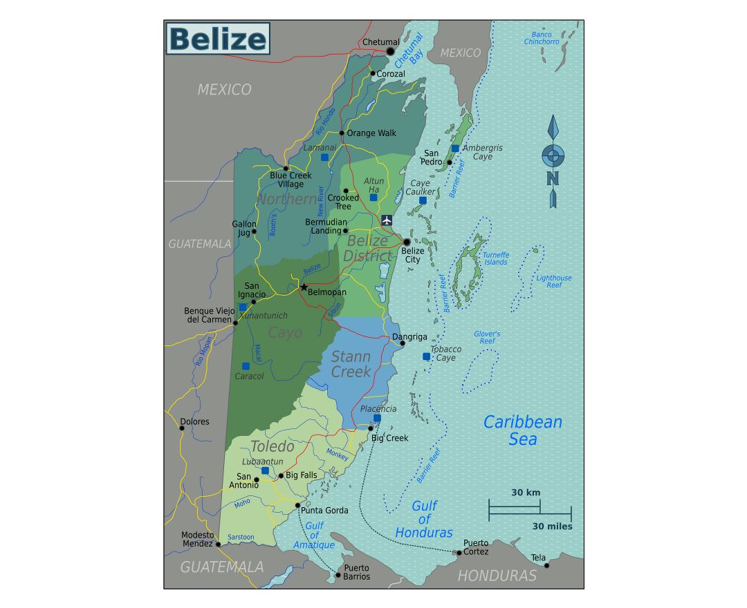 Large regions map of Belize