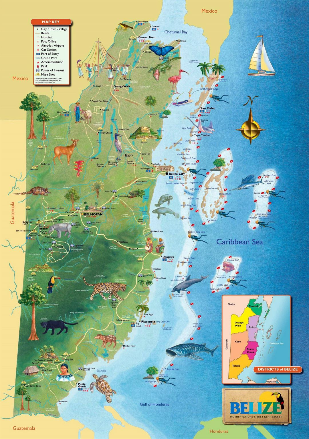 Large tourist map of Belize