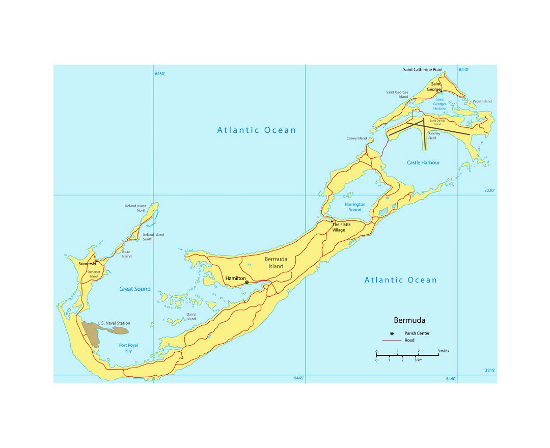 Maps of Bermuda  Detailed map of Bermuda in English  Tourist map