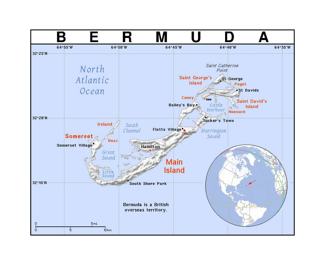 detailed political map of bermuda with relief