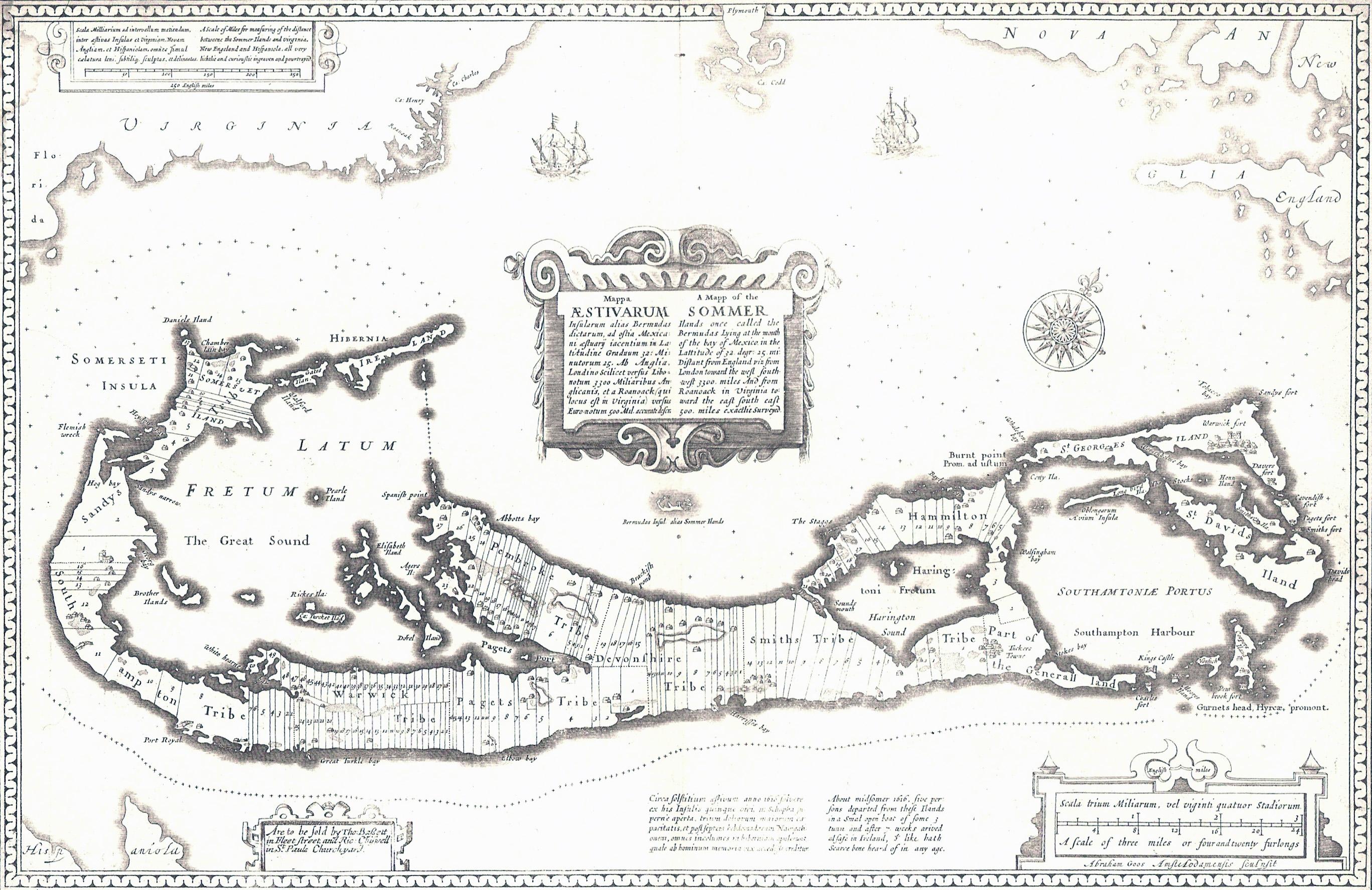 Large detailed old antique map of Bermuda - 1676 | Bermuda | North ...