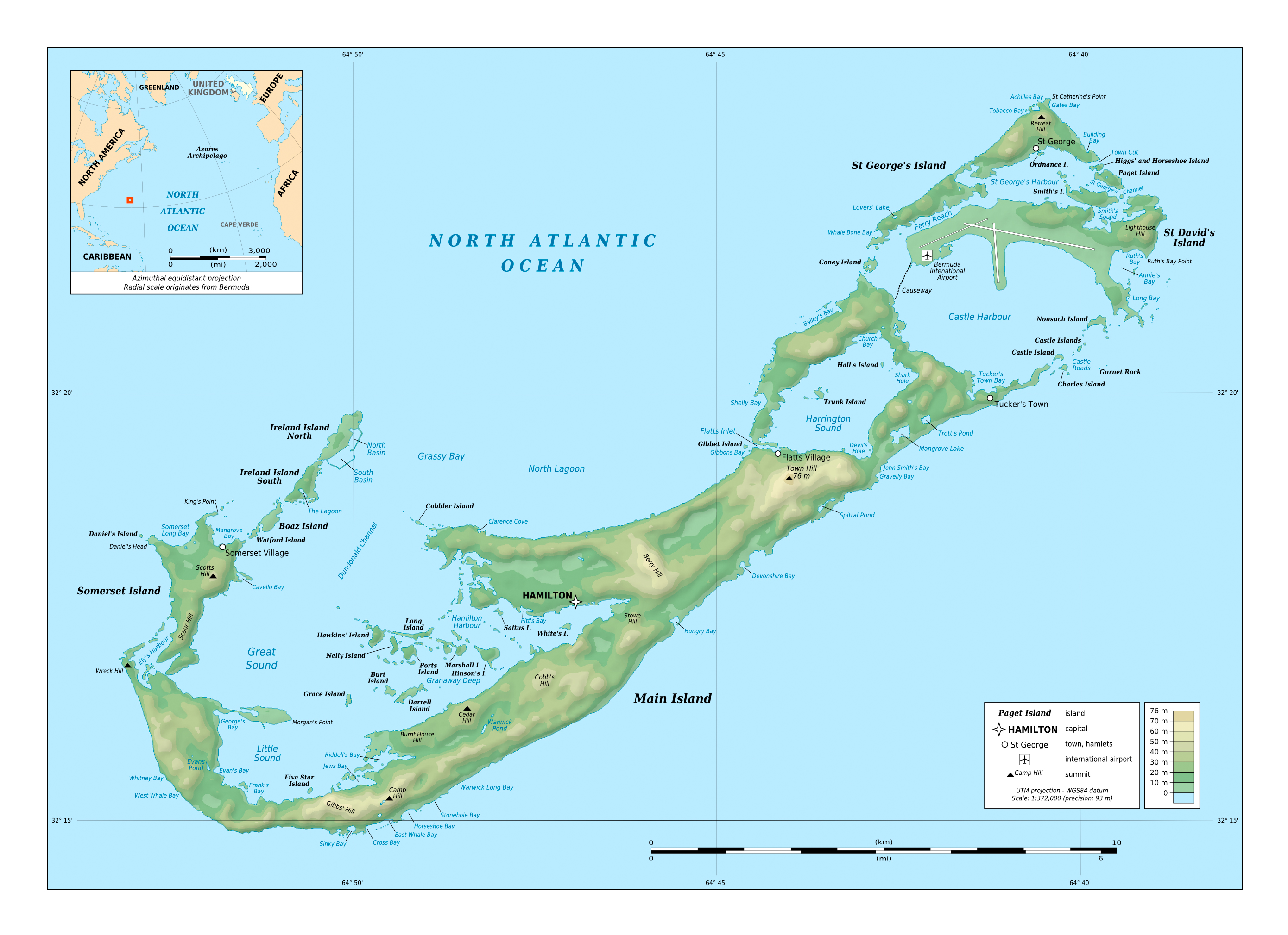 Large detailed physical map of Bermuda with cities and airports