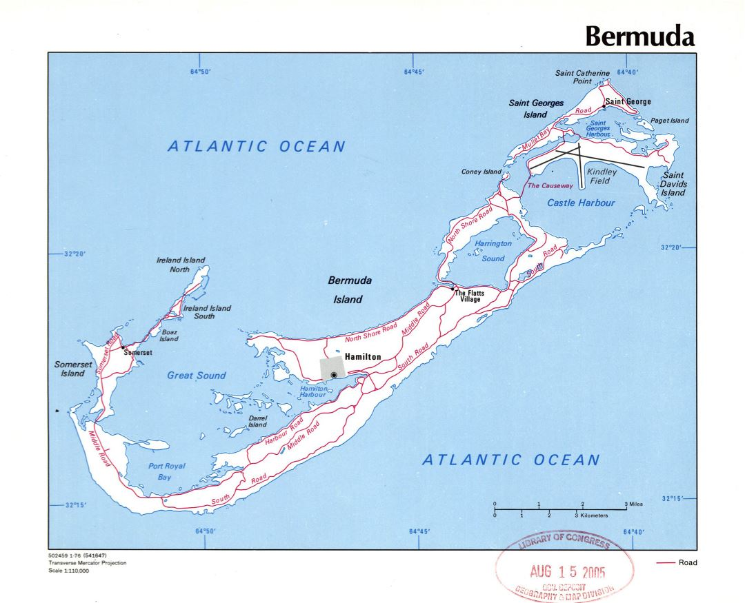 Large detailed political map of Bermuda with roads, cities and other marks - 1976