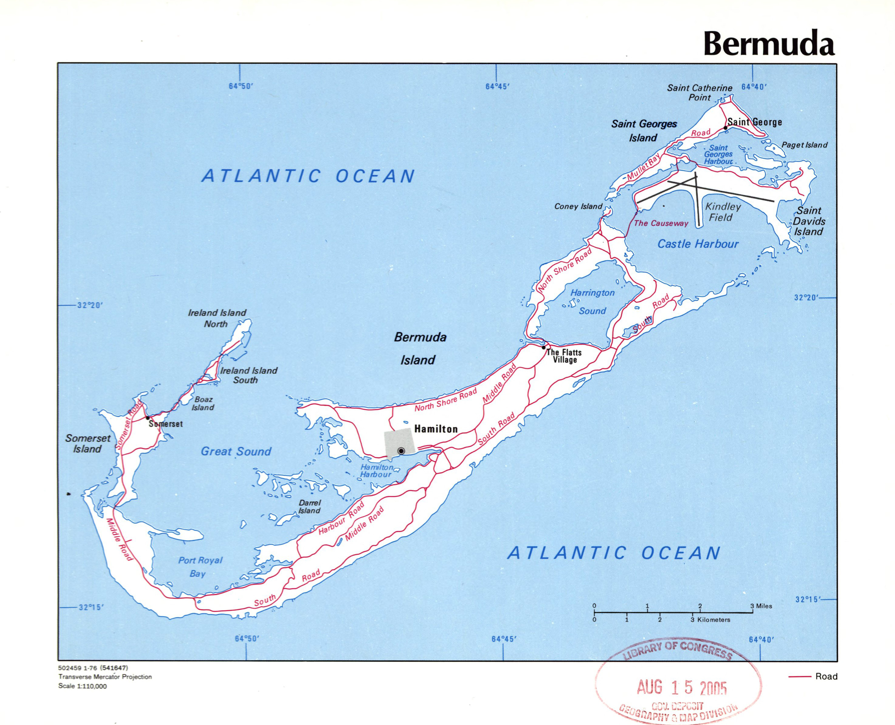 Large detailed political map of Bermuda with roads, cities and other on