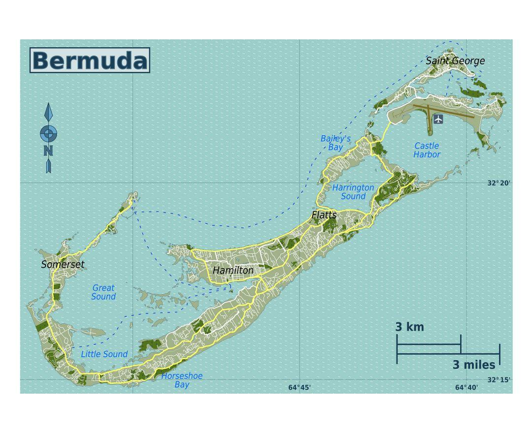 Maps of Bermuda Detailed map of Bermuda in English Tourist map