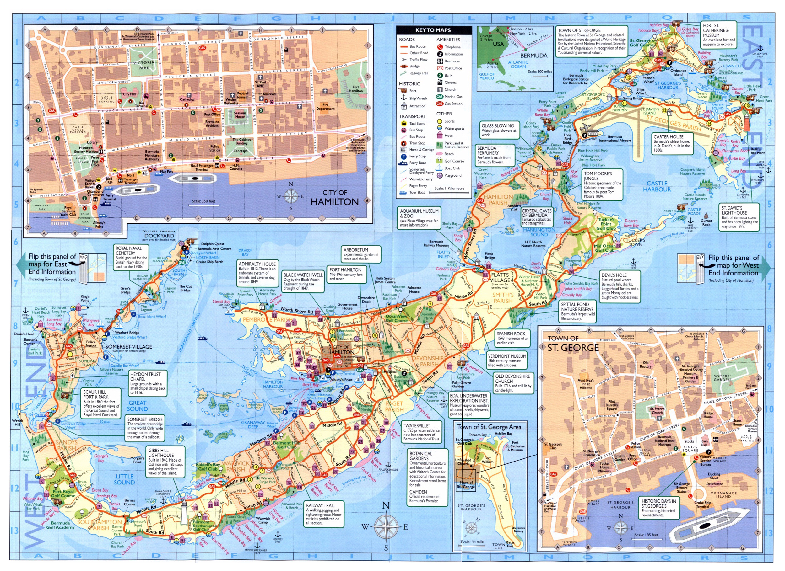 Large road and tourist map of Bermuda | Bermuda | North America ...
