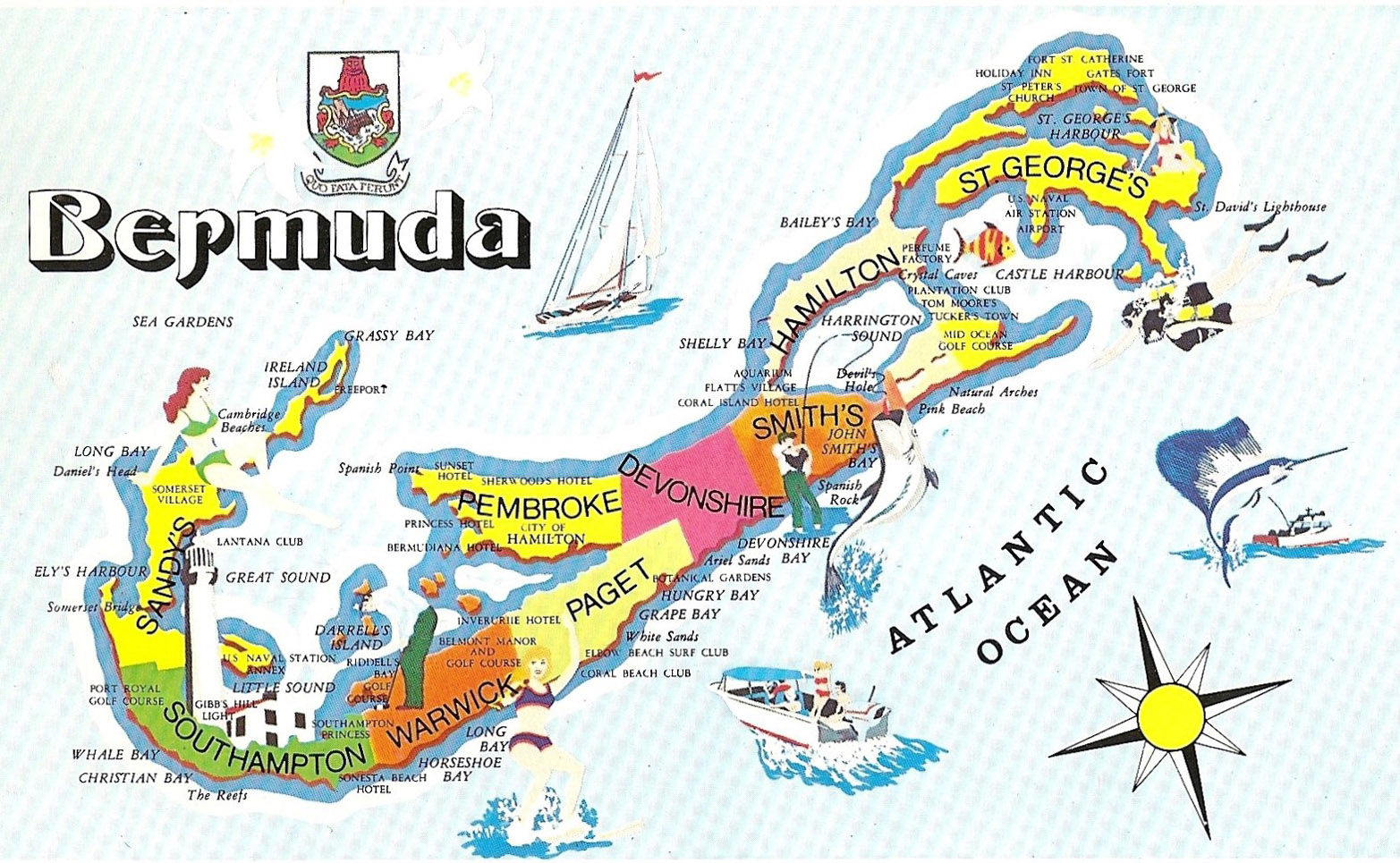 Bermuda Beach Map Large travel illustrated map of Bermuda | Bermuda | North America