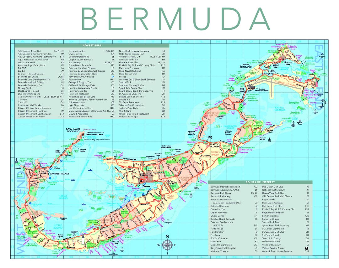 Large travel map of Bermuda