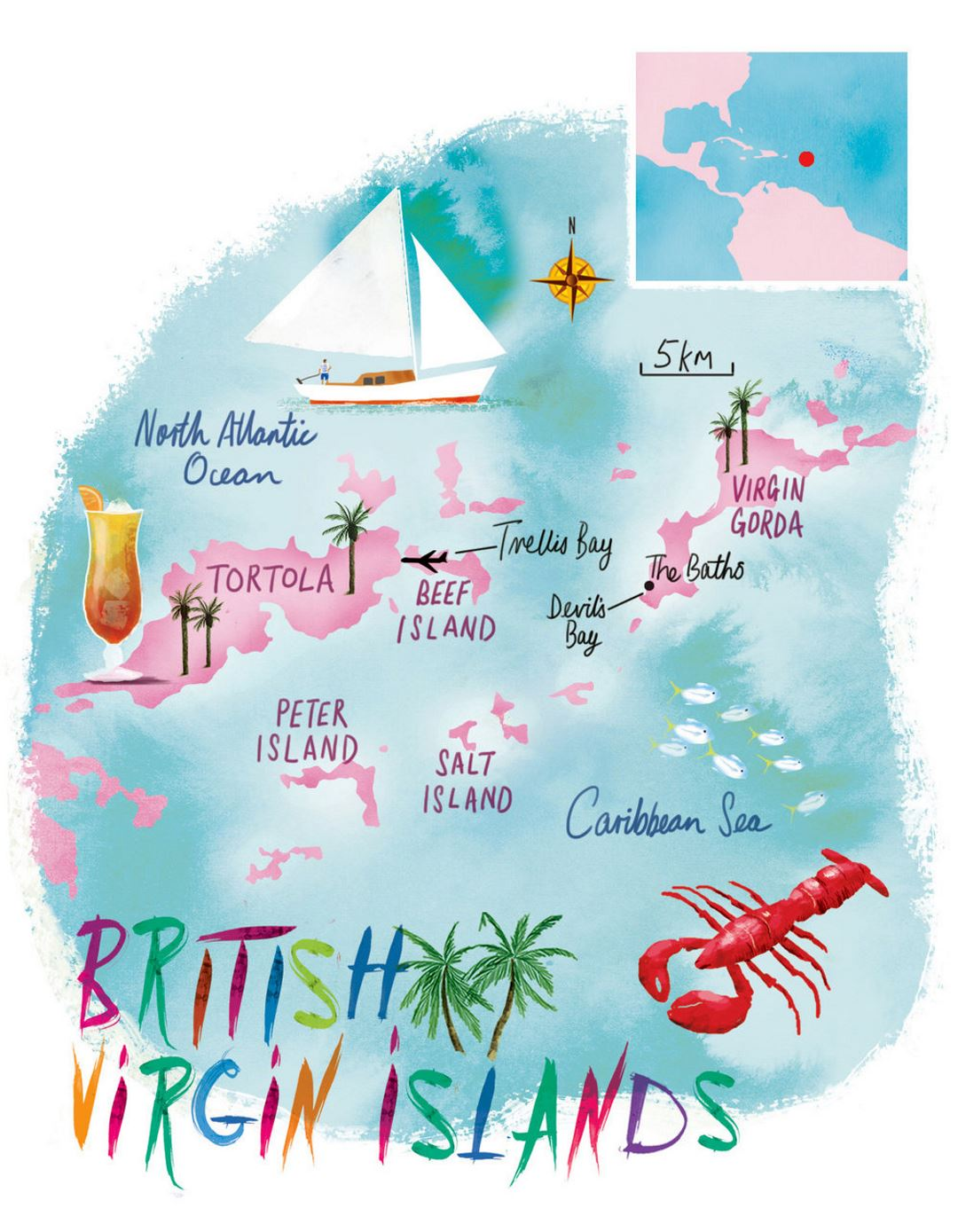 Detailed illustrated map of British Virgin Islands