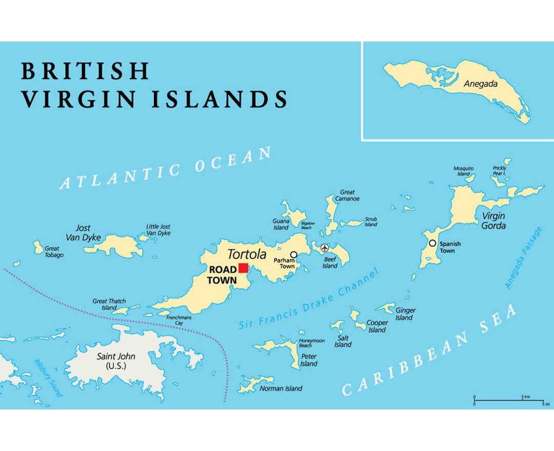 detailed map of british virgin islands with cities and airports