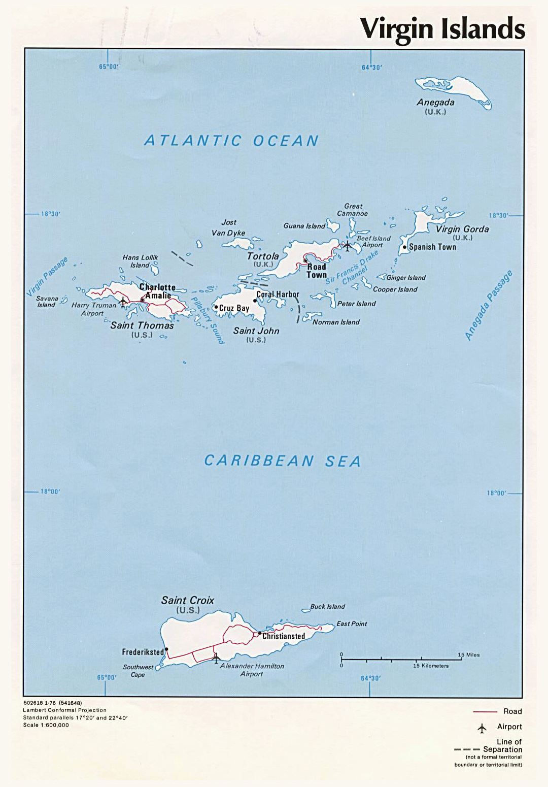 Detailed political map of British Virgin Islands with roads, major cities and airports - 1976