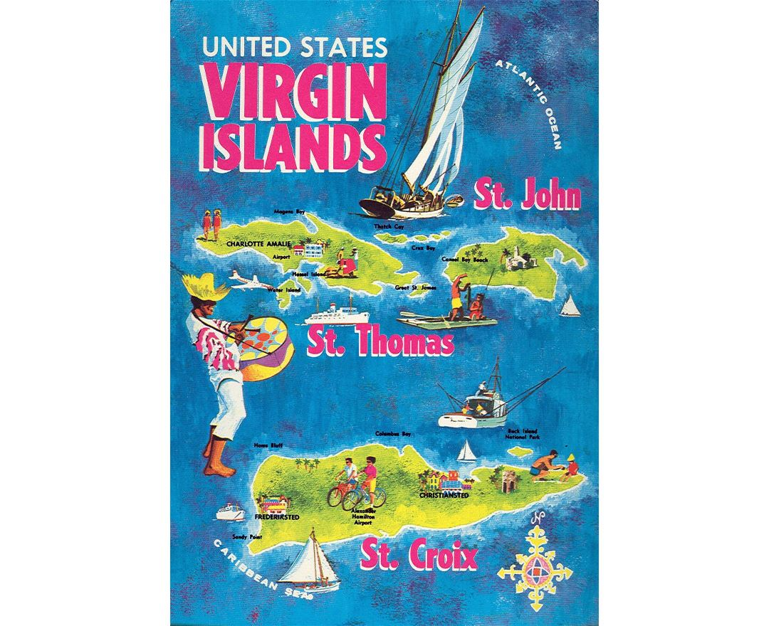 Detailed tourist illustrated map of British Virgin Islands