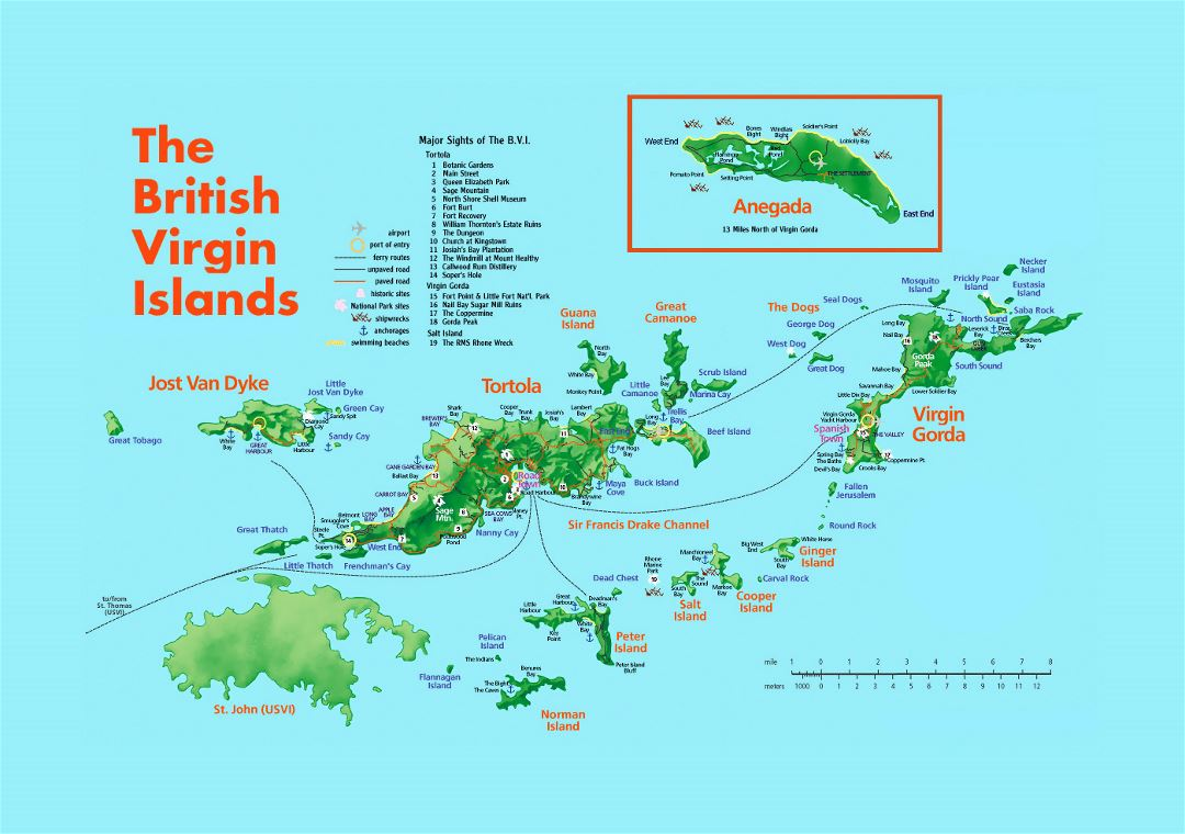 Detailed tourist map of British Virgin Islands with relief and other marks