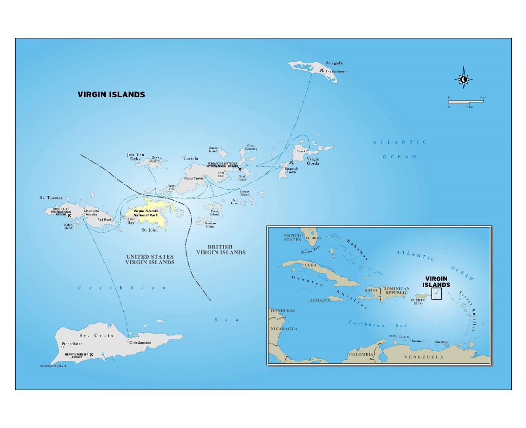 Large detailed political map of Virgin Islands with cities and airports