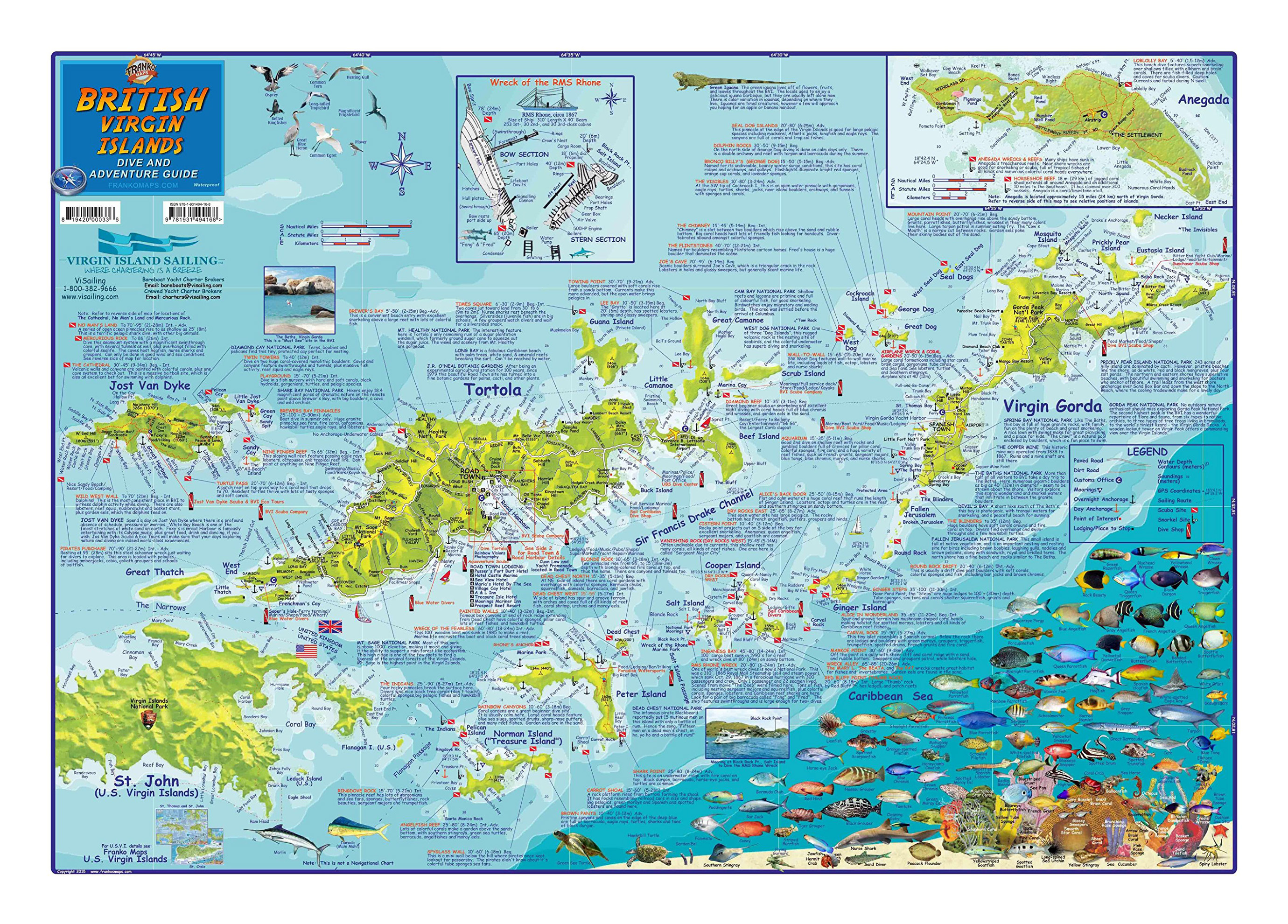 large dive and adventure guide map of british virgin islands