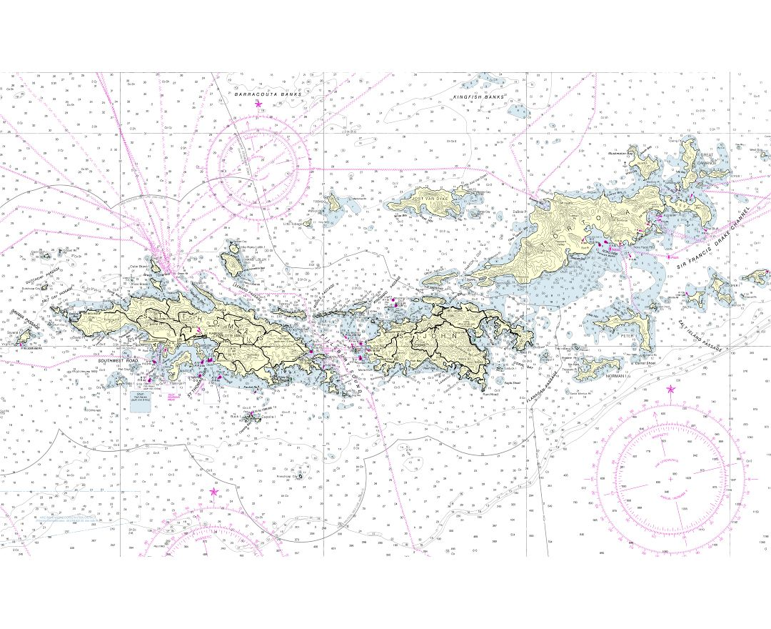 Large scale map of British Virgin Islands