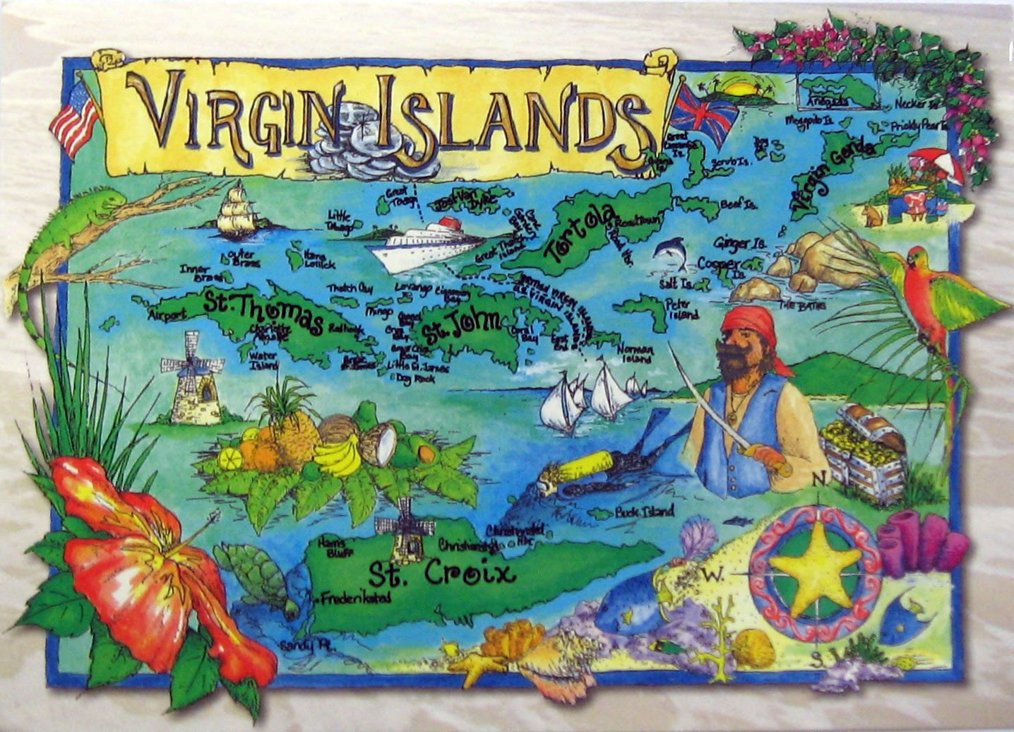 Large tourist illustrated map of British Virgin Islands British