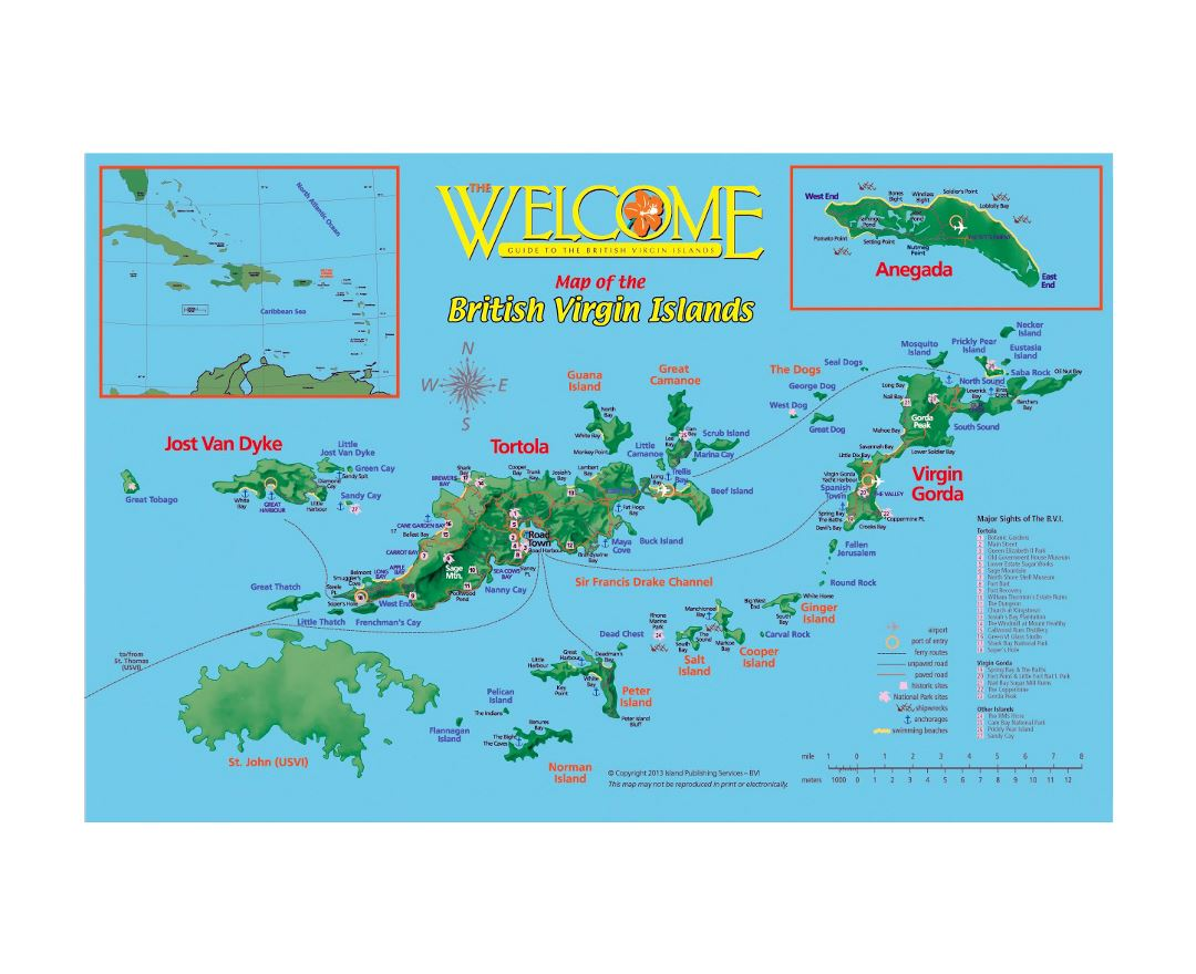 Large tourist map of British Virgin Islands
