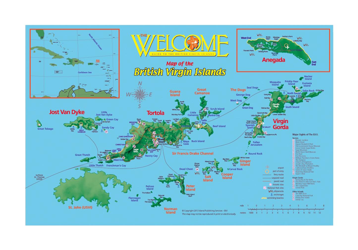 Large Tourist Map Of British Virgin Islands British Virgin - British virgin islands map