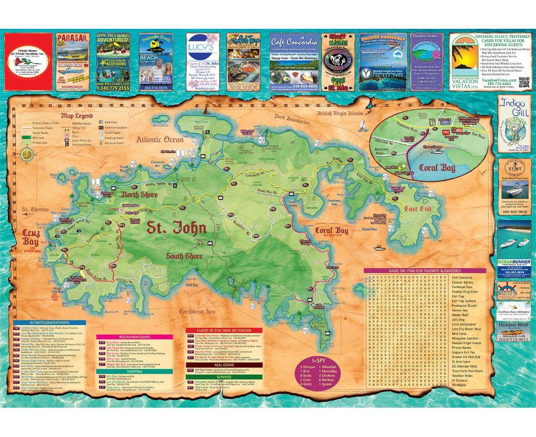 Large tourist map of St. John, British Virgin Islands