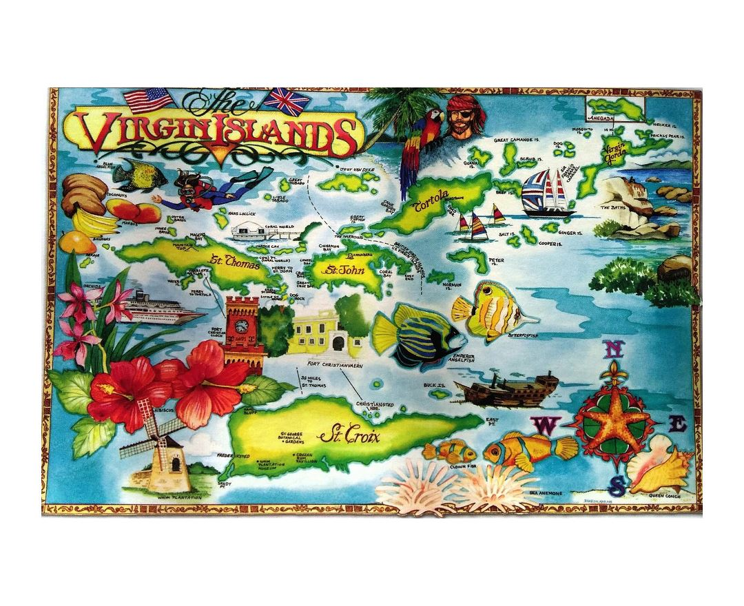 Large travel illustrated map of British Virgin Islands