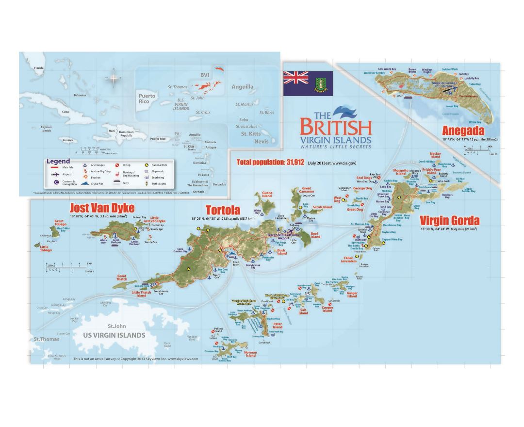 Large travel map of British Virgin Islands