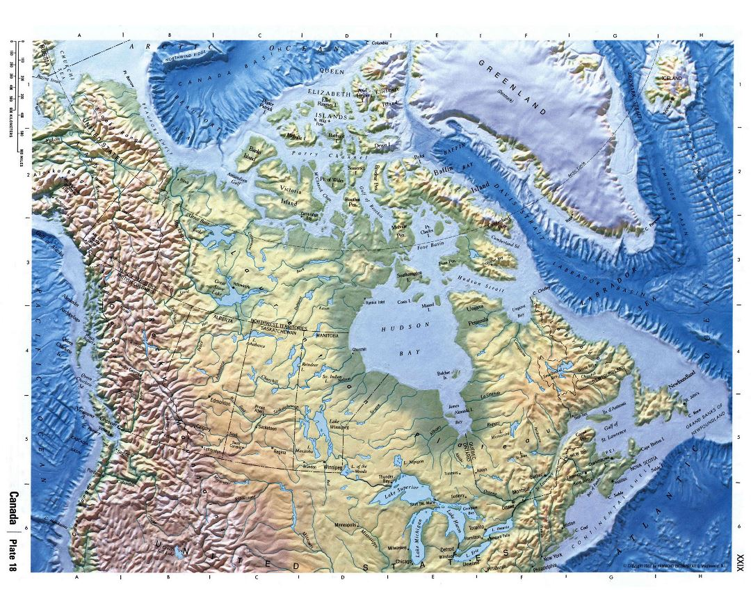 detailed physical map of canada