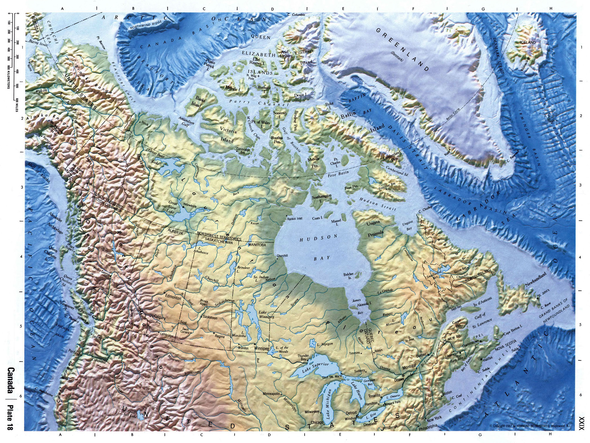 Detailed Physical Map Of Canada Canada North America Mapsland - Physical-map-of-us-and-canada