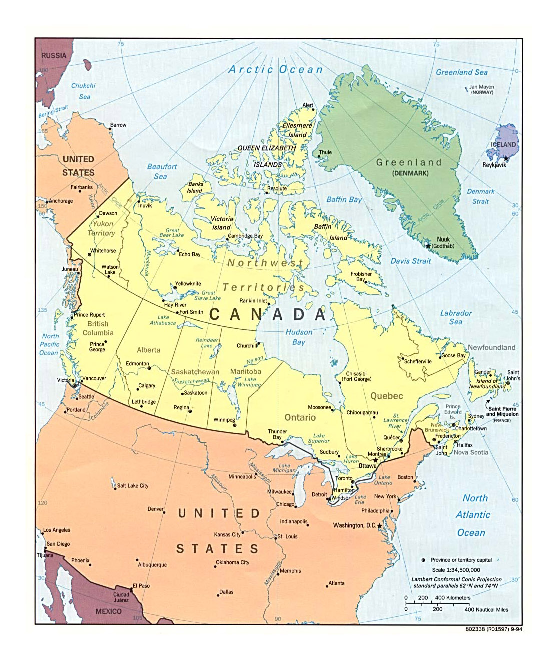 detailed political and administrative map of canada with major cities 1994