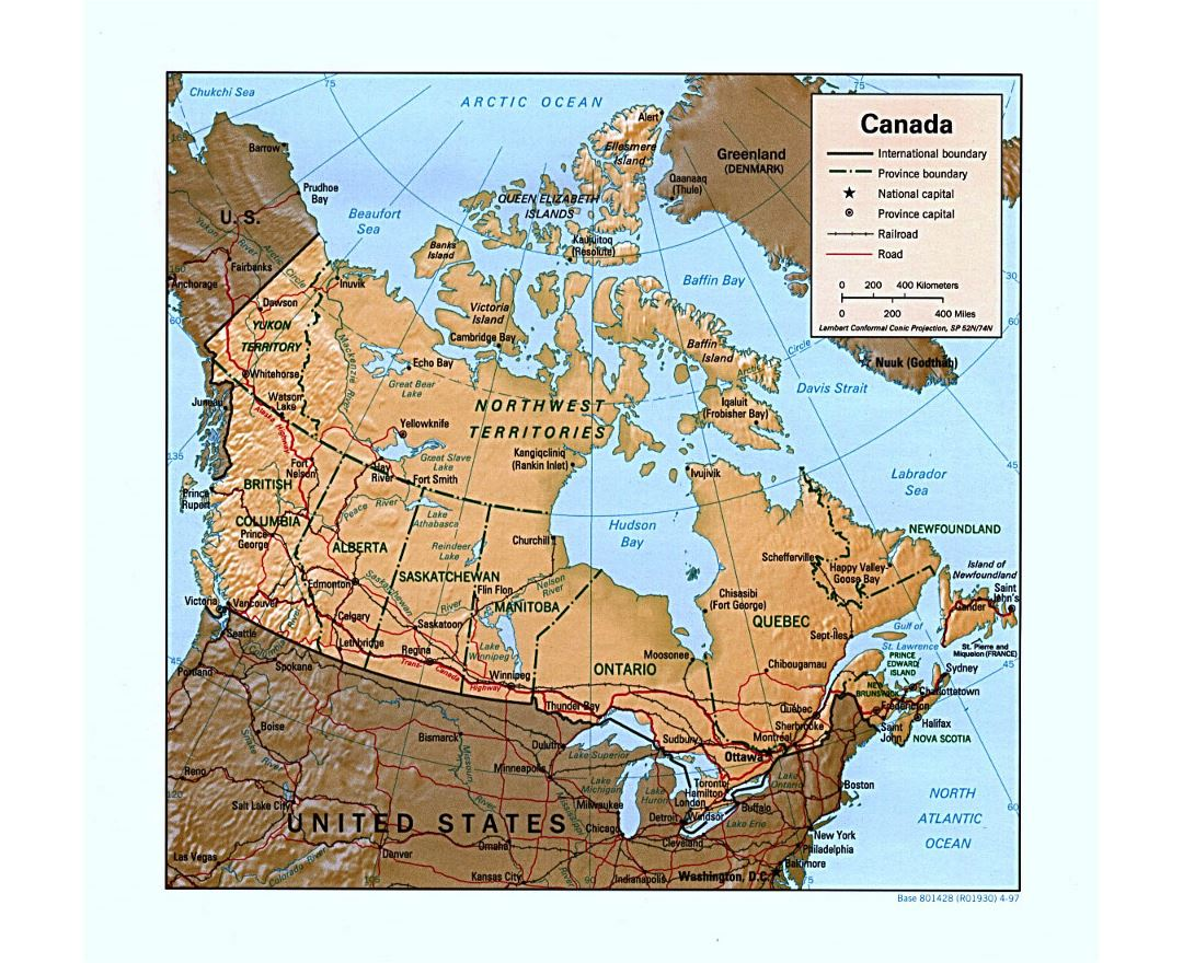 Detailed political and administrative map of Canada with relief, roads, railroads and major cities - 1997