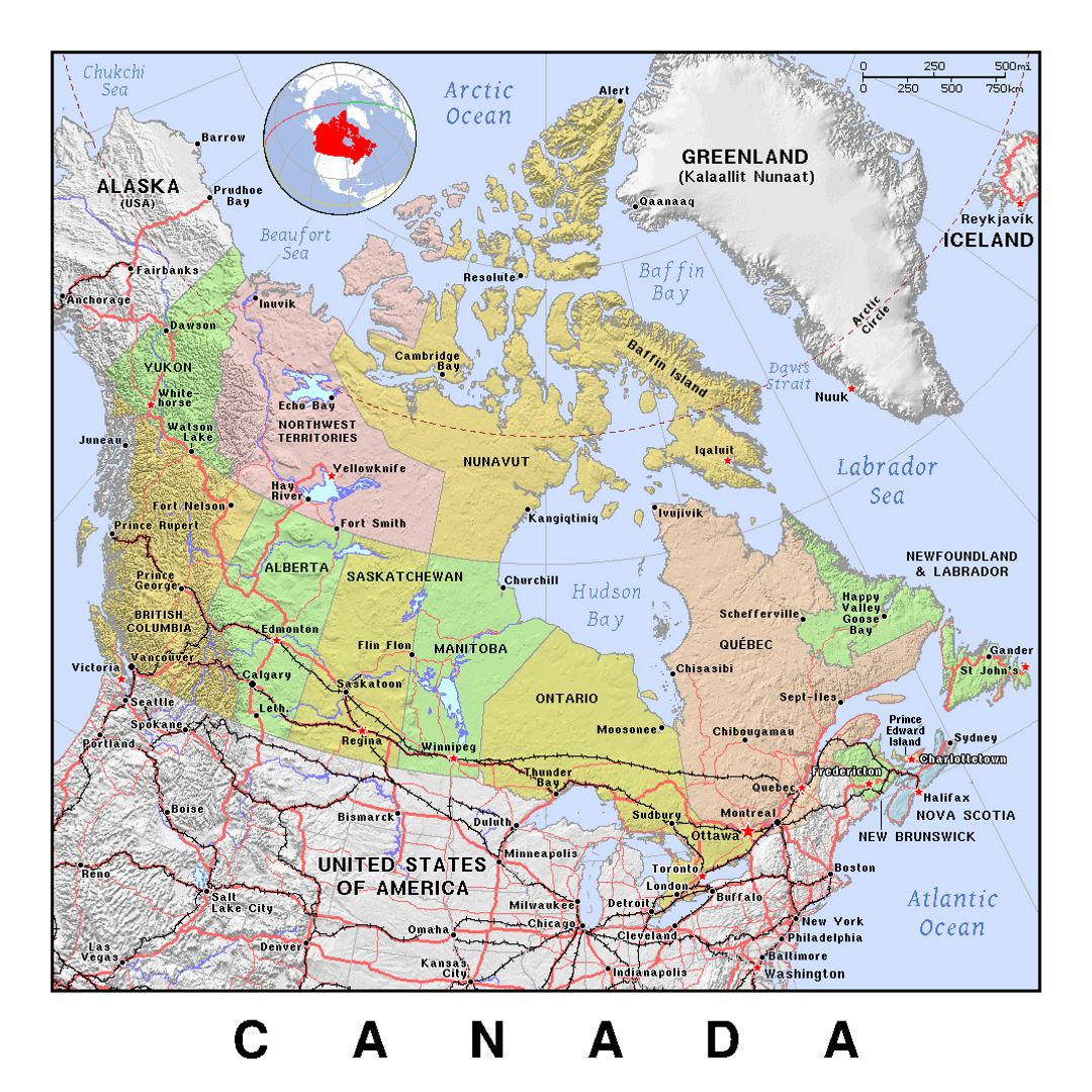 detailed political and administrative map of canada with relief