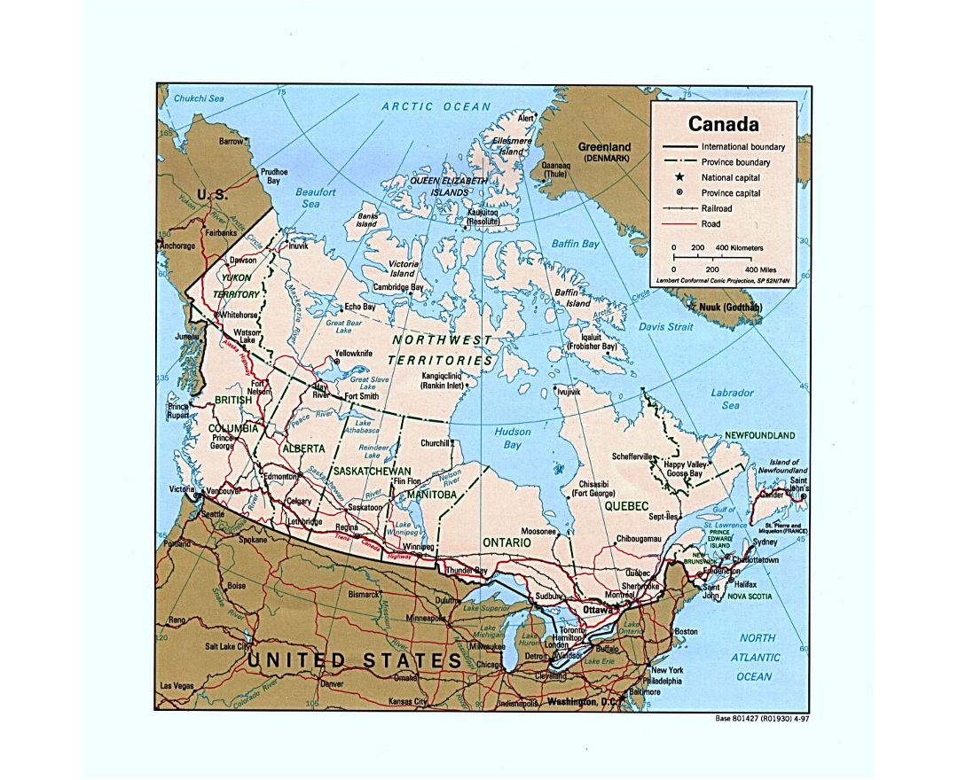 Detailed political and administrative map of Canada with roads, railroads and major cities - 1997