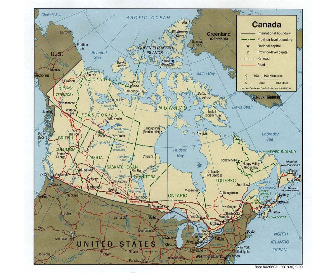 Detailed political and administrative map of Canada with roads, railroads and major cities - 1999