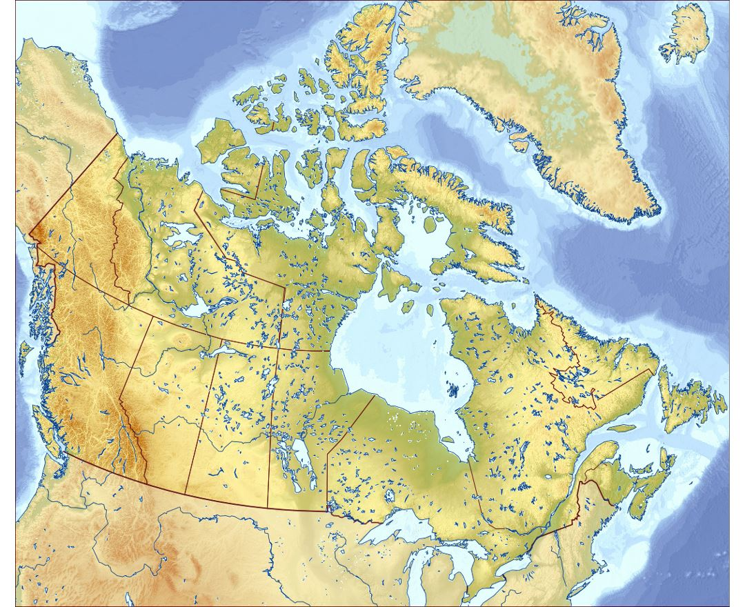 detailed relief map of canada