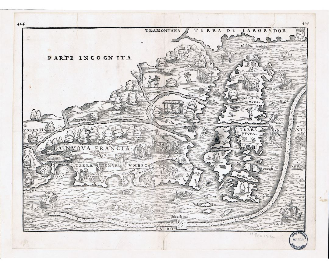 Large detailed old antique map of Eastern Canada - 1565