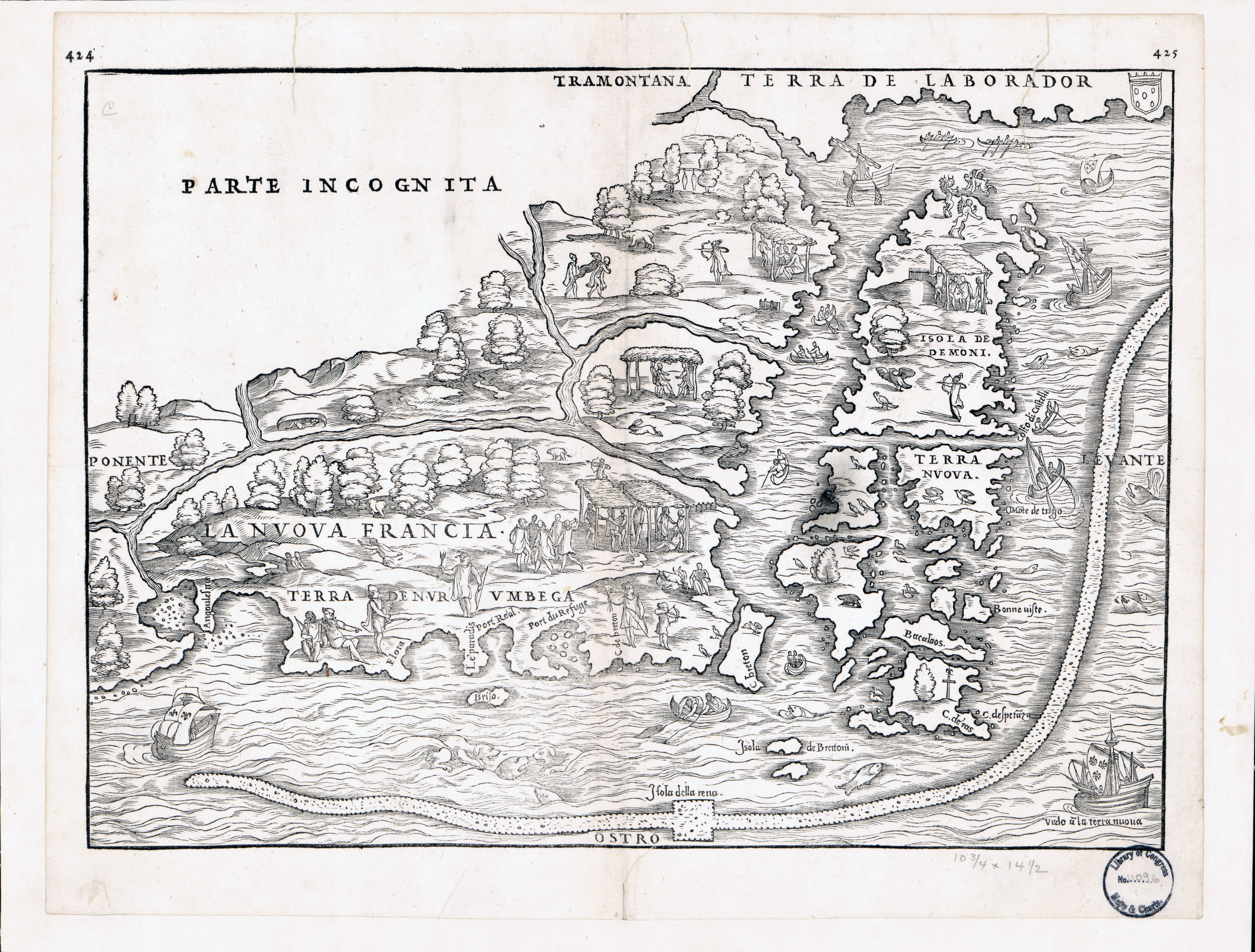 large detailed old antique map of eastern canada 1565