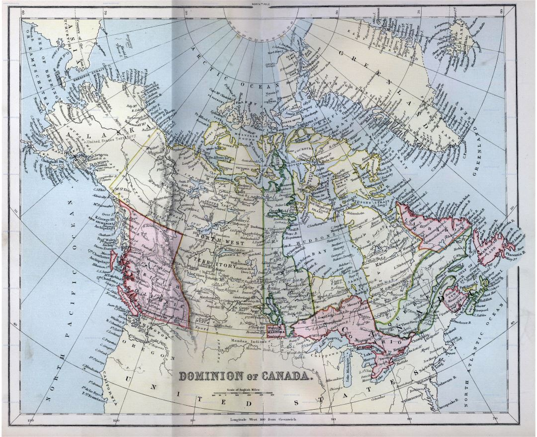 Large detailed old political and administrative map of Canada - 1870