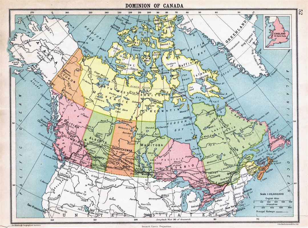 Large detailed old political and administrative map of Canada - 1922