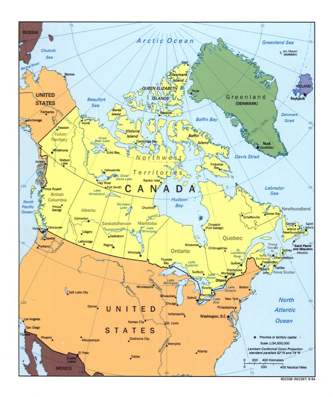 Large detailed political and administrative map of Canada with major cities - 1994