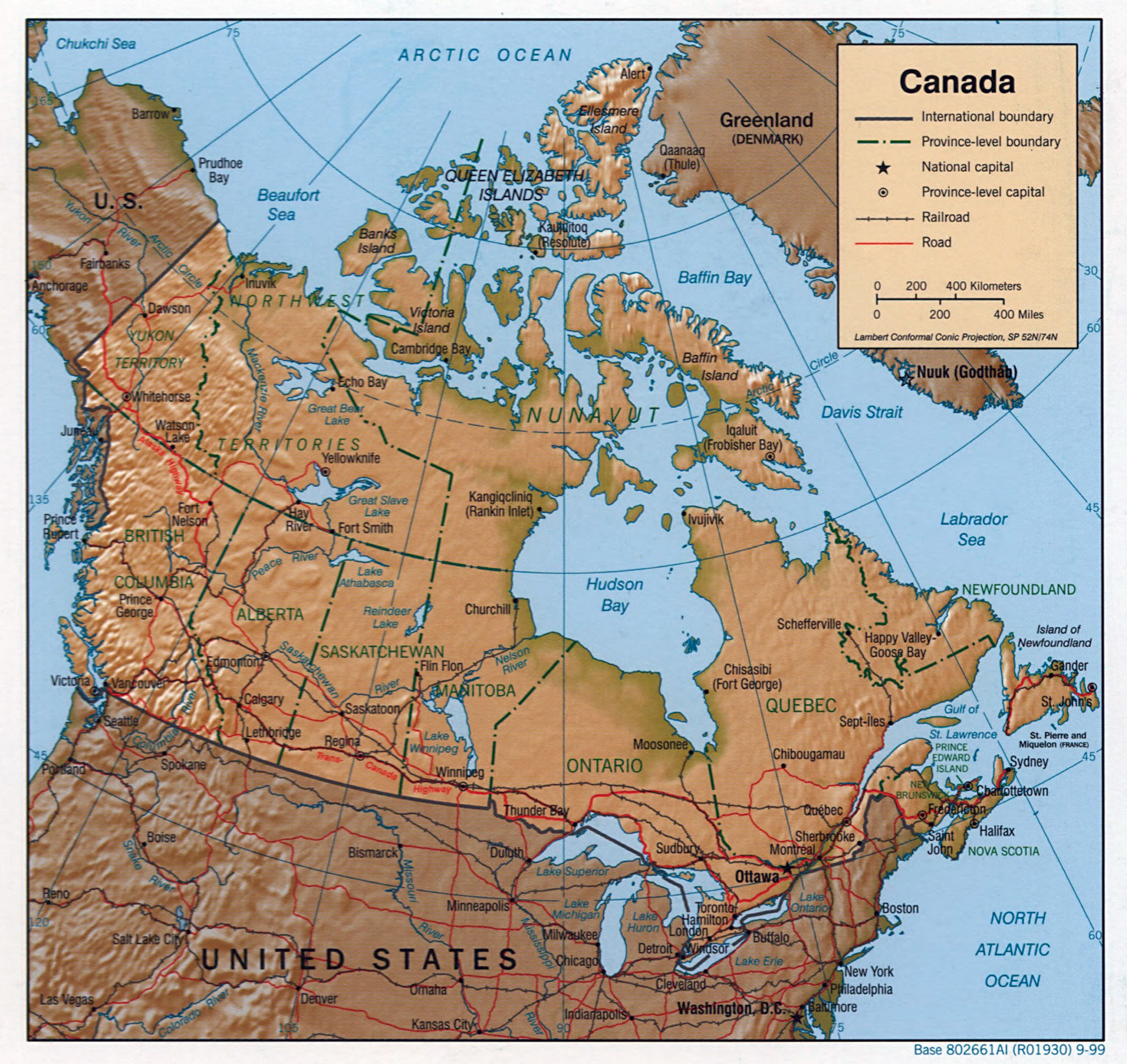 Large detailed political and administrative map of Canada with