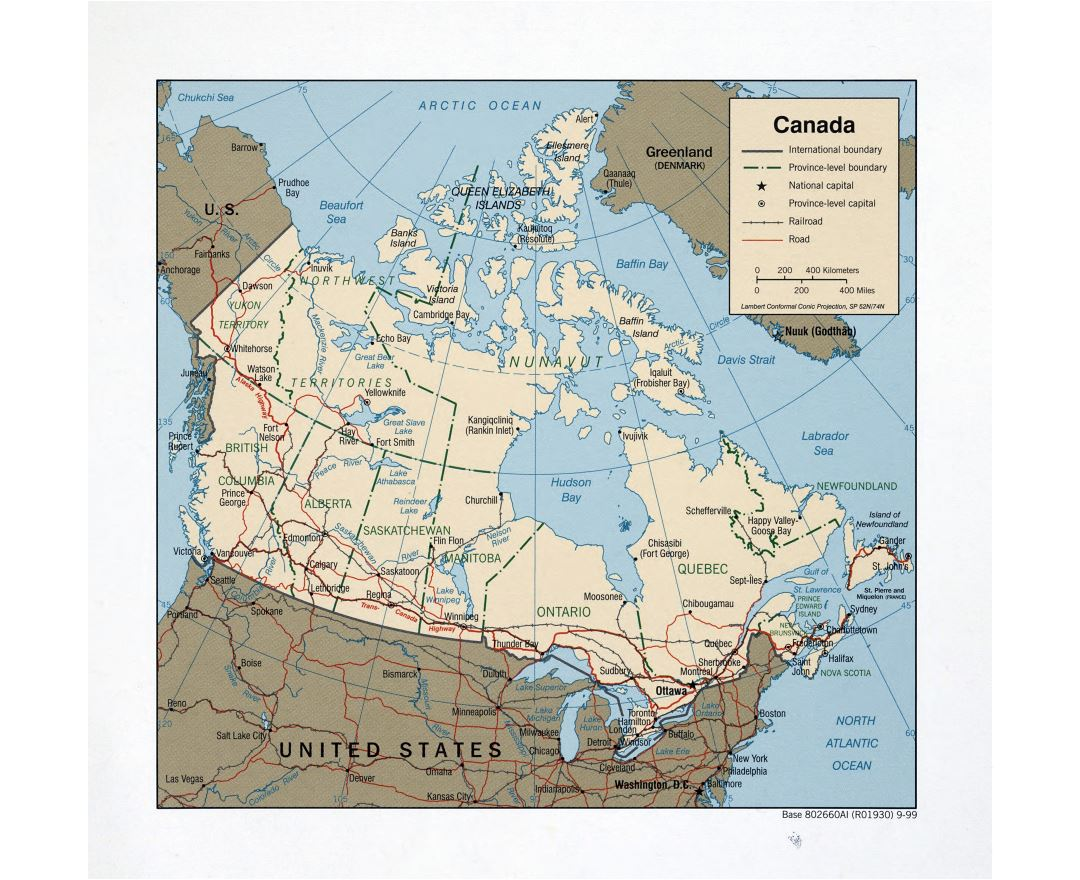 Large detailed political and administrative map of Canada with roads, railroads and major cities - 1999