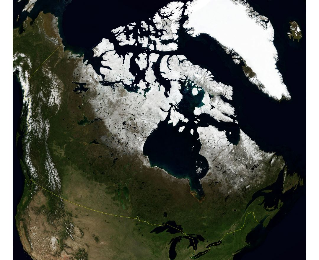 Large detailed satellite map of Canada