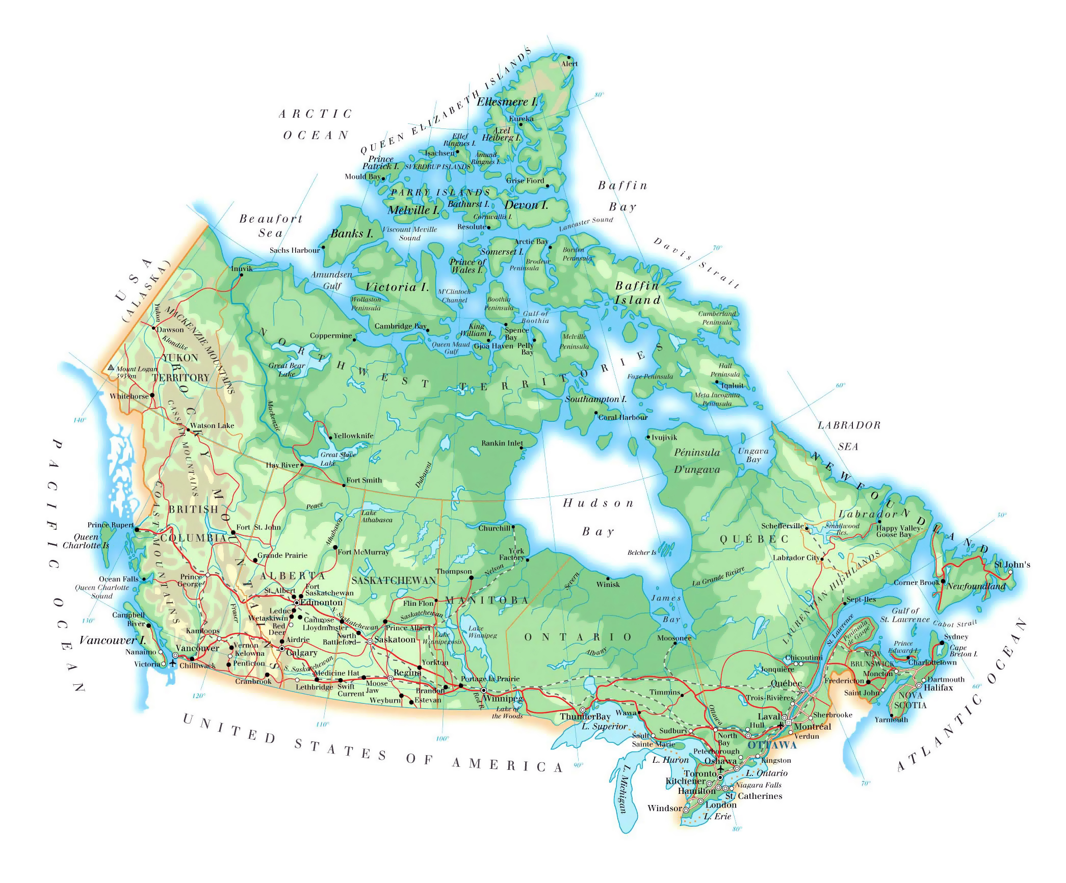 large elevation map of canada with roads railroads major cities and airports