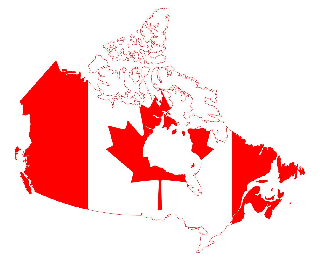 Large flag map of Canada